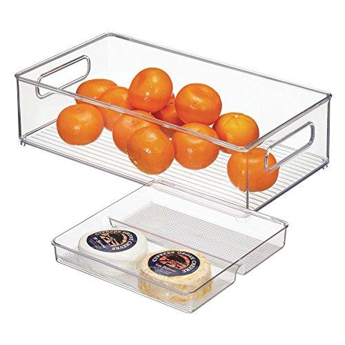 mDesign Juego de 2 cajas organizadoras con asas para nevera y despensa – Cajas de almacenaje para fruta, verdura, alimentos envasados o accesorios de cocina – Contenedores de plástico transparente