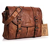NiceEbag Aktentasche Vintage Messenger Bag retro Stil Umhängetasche aus echtem Leder Lehrertasche Herren / Damen Schultertasche Passen 13,3 Zoll Laptop / Notebook (Braun)