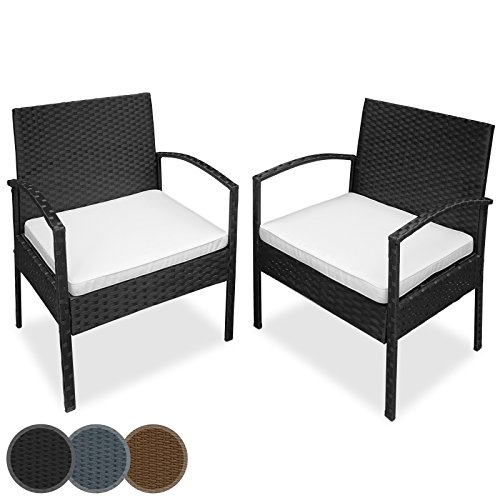 Polyrattan Einzelsessel Sessel mit Sitzpolster als 2er Set im verschiedenen Farben Farbe Schwarz