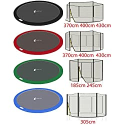 LifeStyle ProAktiv - Filet de Securite et Coussin de Protection pour Trampoline de Jardin 185-430cm - Universal - UV-Resistant - Bone Qualite (Bleu, 370cm)