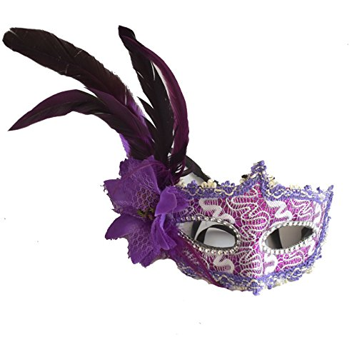Einem Kostüm Mit Ball - thematys Venezianische Venetianische mit Blume und Feder #5 Maske Maskerade Karneval Fasching Verkleidung Kostüm Halloween Party Maskenball Ball Shades of Grey Mr Grey Mitternacht