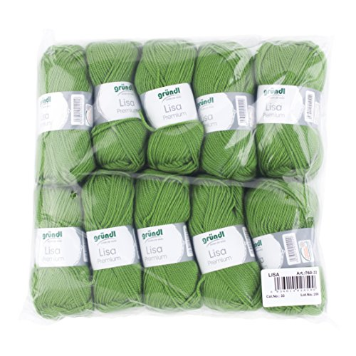 Gründl 760-33 Lisa Premium Wolle, Polyacryl, maigrün, 32 x 27 x 6 cm (33% Acryl)