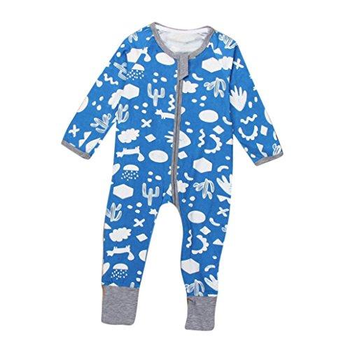 Bekleidung Longra Neugeborenes Baby Jungen Mädchen floralen Drucken Reißverschluss Bodysuit Langarm Strampler Outfits Kleidung (0 -24 Monate) (75CM 3 Monate) (Dot Fleece Pyjama)