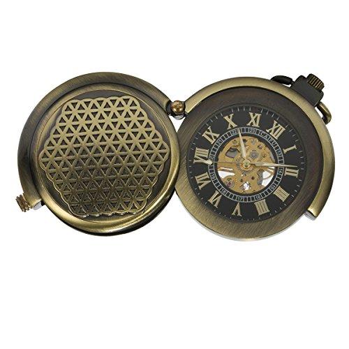 ManChDa Einzigartige Taschenuhr Bronze Hohl Fall Skelett Mechanische für Männer Frauen mit Kette + Geschenk-Box