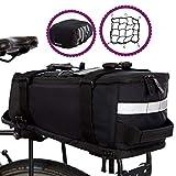 BTR Deluxe Fahrradtasche Gepäckträger Tasche wasserdicht und reflektierender Schutzhülle - Schwarz -mit integriertem Schultergurt, Reflektoren