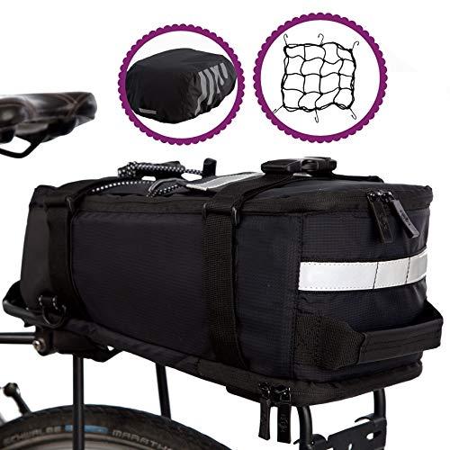 BTR Deluxe fahrradtasche gepäckträger wasserdicht und reflektierender Schutzhülle - Schwarz -mit integriertem Schultergurt, Reflektoren