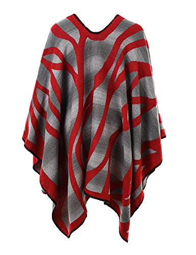 Ferand Poncho Cape Elegant für Damen, Stil Vorne Offen und Dicke für Herbst Winter Stil 4: Rot