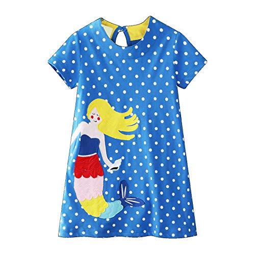 Kinderbekleidung Mädchen Kleid Kurzarm Baumwolle Karikaturdruck Meerjungfrau Muster Blauer Tupfen Kleid Kleines Mädchen T-Shirt 1-8 Jahre (Kleider Für 7-jährige Mädchen)