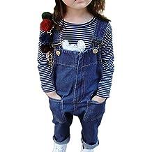 Niños Niñas Monos Denim Peto Vaquero Tirantes Ajustables Pantalones Overall  ... aa1cbd6fc91f4