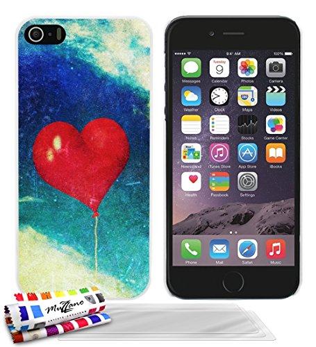 Ultraflache weiche Schutzhülle APPLE IPHONE 5S / IPHONE SE [Herzen ballon vintage] [Grun] von MUZZANO + STIFT und MICROFASERTUCH MUZZANO® GRATIS - Das ULTIMATIVE, ELEGANTE UND LANGLEBIGE Schutz-Case f Weiss + 3 Displayschutzfolien