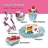 Großes Einhorn Starter Set bestehend aus 1x XXL Ausstecher Pink 16 cm, 10x Mini-Backform, 3x Tortenspitze, 60x Muffin-Cupcakes Backförmchen, 24x Muffin-Tulip-Wraps