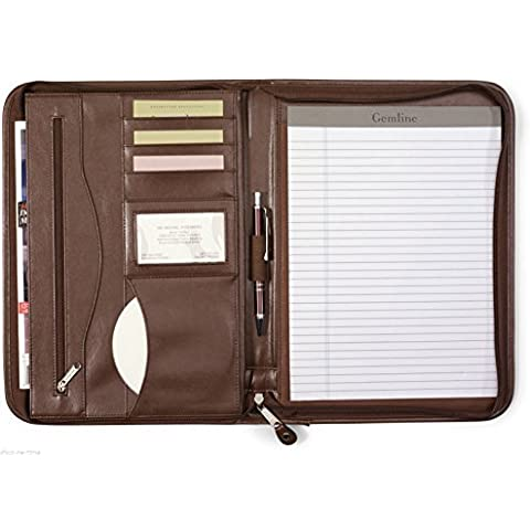 Gemline Deluxe Executive Vintage Brown Leather Zippered Padfolio by Gemline - Deluxe Padfolio