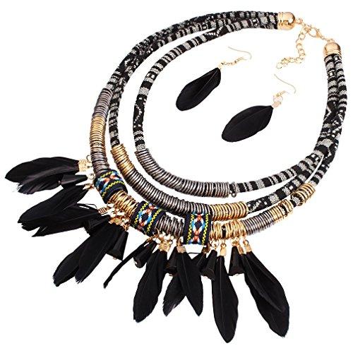 YAZILIND Frauen-Mode-Stoff Harz Feder Anhänger Schwarz-Kragen Statement Halsketten-Ohrringe
