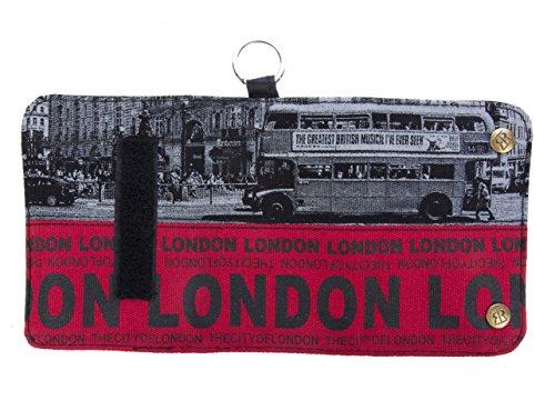 Geldbörse Motiv Bild London Bus rot-bunt Portemonnaie Geldbeutel BE793A - London Damen Portemonnaie