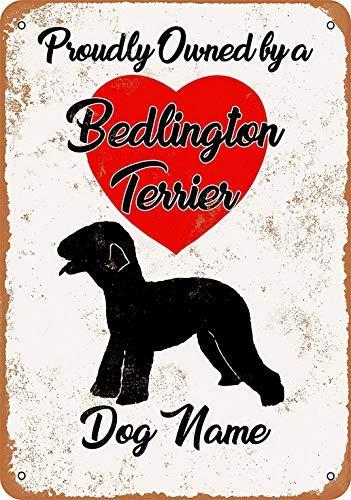 istisign Metallschild, 20,3 x 30,5 cm, mit Hundenamen - Bedlington Terrier - Vintage Look