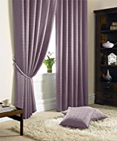 "Jacquard Check Lined Heather Purple 66"" X 54"" - 168cm X 137cm Pencil Pleat Curtains from Curtains"