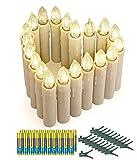 Koopower 20er LED Kerzen mit Batterien, Timer und Fernbedienung, IP64 Dimmbar Kerzenlichter Flammenlose Weihnachtskerzen für Weihnachtsbaum, Weihnachtsdeko, Hochzeit, Geburtstags, Party