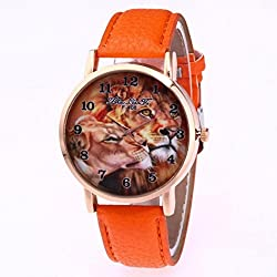 The Best Gift, Anglewolf Luxury Fashion Lions Printing PU leather Quartz Sports Watch Orange