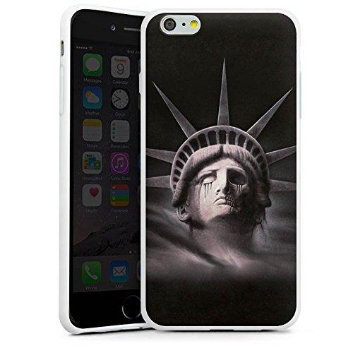 Apple iPhone X Silikon Hülle Case Schutzhülle Freiheitsstatue Miss Liberty Schwarz Silikon Case weiß