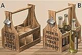 Flaschenkorb aus Holz mit Öffner Länge: 28cm Flaschenträger Bierflaschenträger