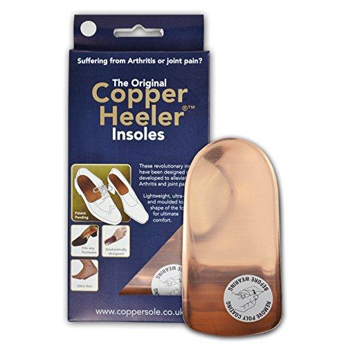 Original Copper Heeler Schuheinlagen aus Leder mit Kupfer im Fersenbereich, Größe 39 - 44