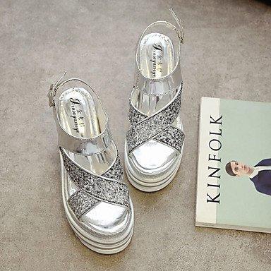 LFNLYX Donna Sandali Estate Liane similpelle Abito casual liane fibbia nastro color argento Silver