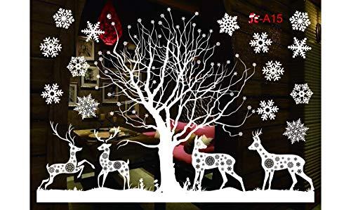 Sinwind Weihnachten Fenstersticker, Fensteraufkleber PVC Fensterbilder Weihnachten Fensterdeko selbstklebend Fensterfolie Weihnachtsdekoration (110cmX38cm) (Weihnachten 8)