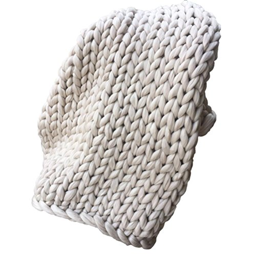 Fuibo Strick Decken, 100*100cm Hand Chunky Knitted Blanket Thick Wool Bulky Knitting Throw (Beige)