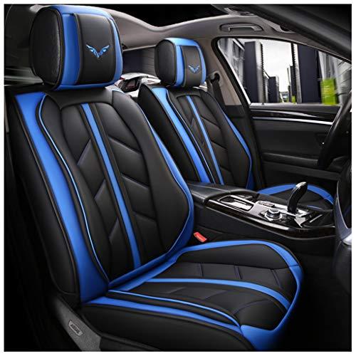 ug, vorderer und hinterer 5-Sitzer-Komplettsatz, Universal-Leder, Vier Jahreszeiten, kompatibel mit Airbag-Sitzprotektoren, wasserdicht. (Farbe : Blau) ()