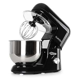 Klarstein Bella Nera - Robot de cuisine multifonction - robot patissier tout-en-un : fouet, pétrin, crochet... (1200W, bol mélangeur en inox de 5L, 6 vitesses) - noir