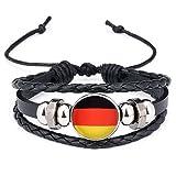 Aiuin 1 x Retro-Armband, Lederarmband, mehrschichtig, geflochten, für Herren, dekoratives Armband, Geschenk für Weltmeisterschaftsfans, Deutschland