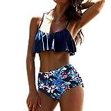 HCFKJ Bikini Damen Set Push Up Sommer 2018 Hoch taillierte Bikinis Bademode Badeanzug weibliche Retro Beachwear Bikini Set (S, Blue)
