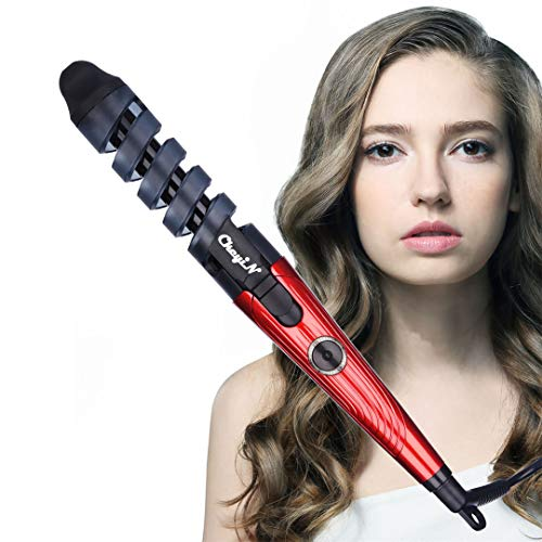 Eléctrica Rizador de Pelo de Cerámica Espiral Rodillos de Pelo Curling Iron Wand Salon Herramientas de Peinado de Cabello (Rojo)