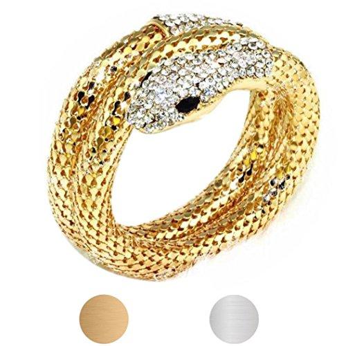 (LCLrute Mode Diamant-Multi-Strang Schlange Armband Vintage Retro Punk Strass Curved Stretch Schlange Manschette Armreif (Gold))