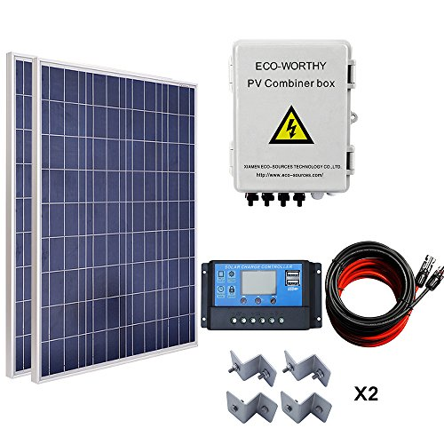 ECOWORTHY 200W Solar Panel System: 2100W Poly Panel + Saiten Solar Combiner Box + LED Charge Controller + 16FT Kabel + Z Montagehalterung -