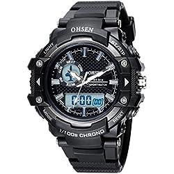 OHSEN Men Women Sport Watch Waterproof LED Digital Analog Display with Stopwatch Chronograph Alarm - Black