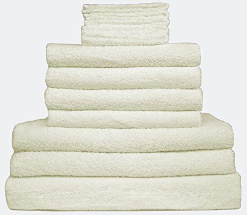 12er Handtuch Frottier Set – 1 x Badetuch, 2 x Duschtücher, 4 x Handtücher, 5 x Gästetücher – Qualität 400 g/m² – 100% Baumwolle in 8 modernen Farben (Creme / Naturweiß)