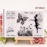 Kimruida Fairy Butterfly Transparent Silikon Klar Stempel Tagebuch Scrapbooking DIY