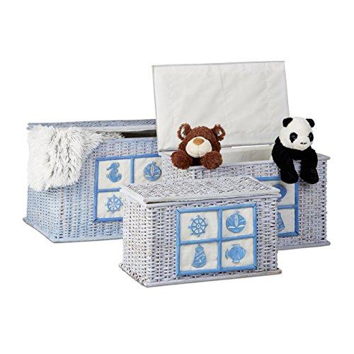Relaxdays Rattan Truhen 3er Set, Aufbewahrungsboxen mit maritimen Motiven, dekorative Kisten mit Stoffbezug, hellblau (Rattan Aufbewahrungsboxen)