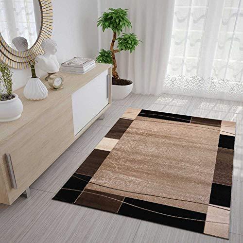 VIMODA Teppich Kariert Retro Muster Meliert in Braun Schlafzimmer  Wohnzimmer - ÖKO TEX Zertifiziert, Maße:40 x 60 cm