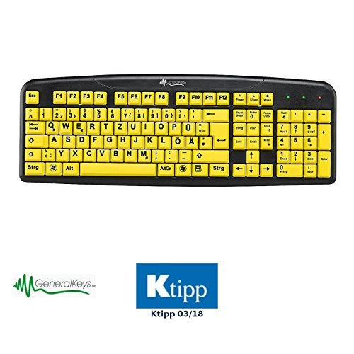 GeneralKeys Tastatur Große Tasten: Komfort-Tastatur mit kontraststarken Großschrift-Tasten (Großschrifttastatur)