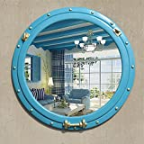 ZI LING SHO- European Circular Wash Make-up Spiegel Mittelmeer Home Einfache Badezimmer Spiegel Retro Wand Hanging Dressing Eingang Spiegel WC Beauty Dekoration (Farbe : Blau)
