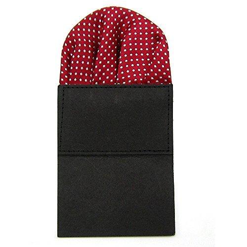 Classic Men's Suit Wedding Pocket Square Folded Handkerchief Holder Dot Design for Bridegroom Groomsman Purplish Red by Sopear -