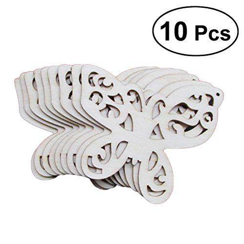 10pcs Wooden Cutout Ornaments Hanging Embellishments Crafts Decoration Ornament Tag 65x60mm (Butterfly)