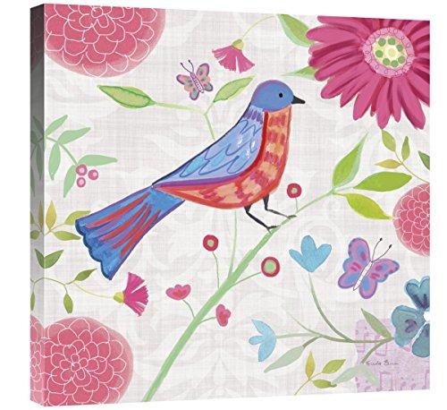 Global Galerie Farida Zaman, Damast Blumenmuster und Bird II 'Giclée-Gespannte Leinwand Kunstwerk, 61x 61cm - Moderne Damast-galerie