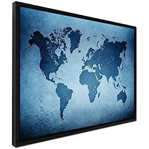 105x 75cm–cuadro–Color Azul Petróleo–Juntas sobre lienzo inkusive sombra Marco Negro–Mapamundi Antiguo