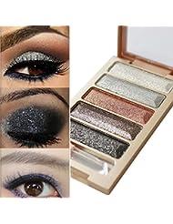 Fards à paupières,5 couleurs paillettes fard à paupières maquillage ombre palette-Lonshell (01#)