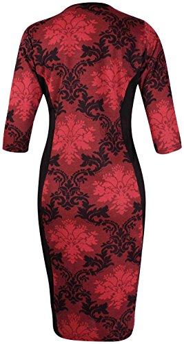 Damen Kleid Tunika Top Blumenmuster Stretch Midi Kleid Übergröße Rundhals Corail