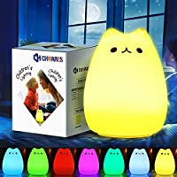 CHwares Portable LED Children Night Light Kids Multicolor Silicone Cat Lamp, Warm White &7-Color Breathing Dual Light Modes, Sensitive Tap Control for Baby Adults Bedroom,USB Rechargeable Lighting