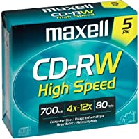 ‏‪Maxell Maxell MAX630025 CD Rewritable Media, CD-RW, 4x, 700 MB, 5 Pack‬‏